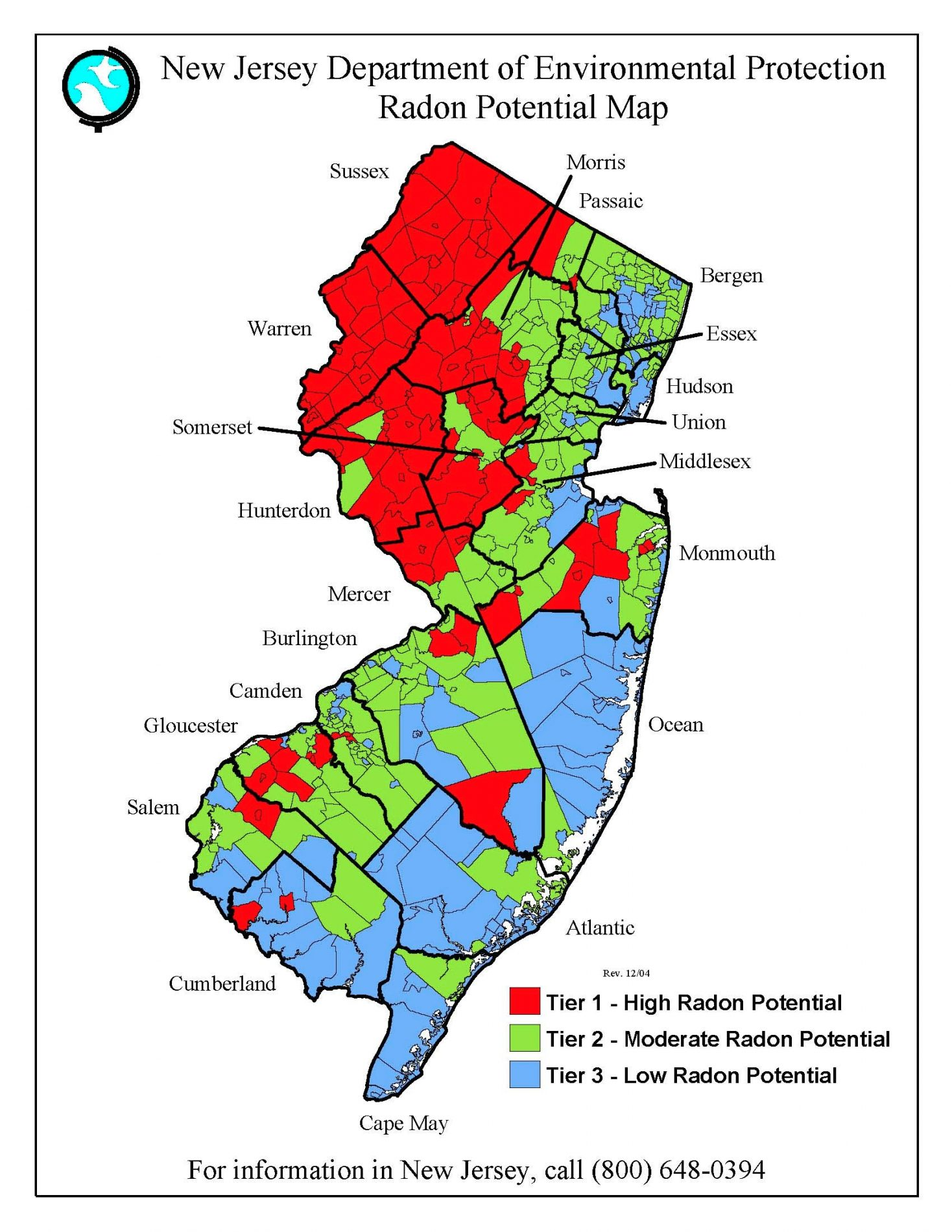 Map of potential radon in New Jersey